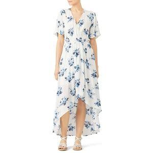 Moon River Faux Wrap Maxi Dress M White Floral
